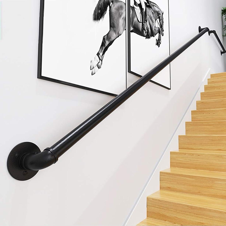 散逸通り抜けるオーナメント手すり 階段用 装飾マットブラックステアレール錬鉄製の手すり 1 ft?10 ft。階段のブラックパイプ手すり 屋外および屋内用の簡単に設置できる手すり、250 kgをサポート