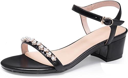 JIANXIN Printemps De Style Féminin Et l'eau Simple D'été Forer Une Chaussure De Talon De Hauteur De Sandales De Boucle De Mot. (Couleur   Noir, Taille   36)