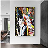 Graffiti art audrey hepburn lienzo pintura carteles e impresiones Cuadros arte de pared audrey hepburn decoración para dormitorio sala de estar60x80 cm (sin marco) artppolr