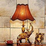 Palm kloset Lámpara de Mesa Dormitorio de Lujo de la Sala de Estar de luz Retro romántica Cama de Estudio de la lámpara de Escritorio/Mesa cálido y Elegante Hotel Decorado Elefante (Color : Rosa, ta