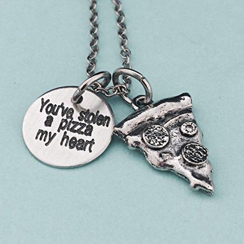 You've stolen a pizza my heart, Valentine's Day necklace, couples necklace, pizza necklace, love necklace, friend necklace, quote necklace