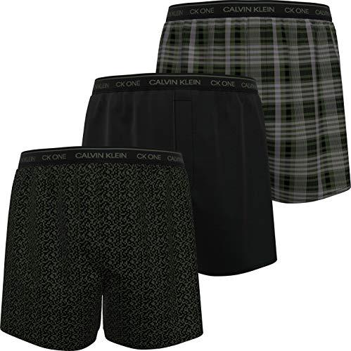 Calvin Klein Herren Boxer Slim 3PK Boxershorts, Pixel Print/Schwarz/East Plaid, L