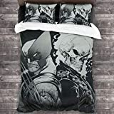 Wolverine & Ghost Rider 3 Piece Bedding Set 86'X70' All-Season Decorative Duvet Cover Set Quilt Cover (1 Duvet Cover 2 Pillowcases)
