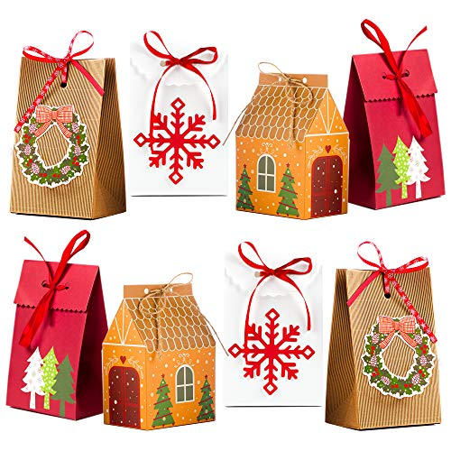 BIMO 12 Pieces Christmas Bags 4 Premium Design Reusable Craft Paper Assorted Colors Xmas Theme Boxes Great for Candies Cookies Bundle Gift Wrapping Bags Bulk Prime