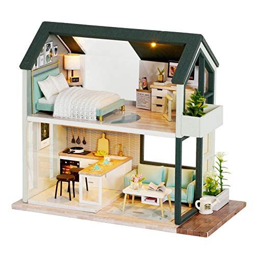 Spilay DIY Dollhouse Miniature with Wooden Furniture,Handmade Home Craft Collection Model Mini Kit with Dust Cover & LED,The Nordic Apartment 1:24 3D Creative Doll House Toy for Adult Teenager Gift