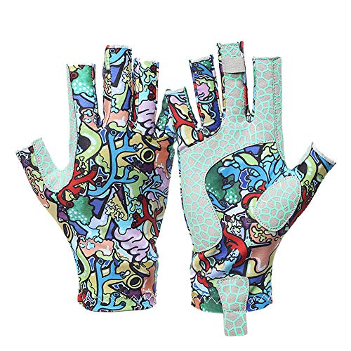 Snowvan UV Protection Fishing Gloves for Men and Women, UPF50+ Sun Fingerless Gloves for Sailing, Cycling, Boating, Kayaking, Padding, Surfing, Hiking(Colorful, L)