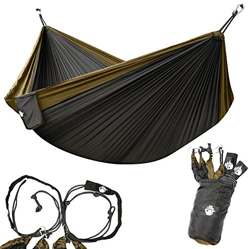 Legit Camping - Double Hammock - Lightweight Parachute Portable Hammocks for Hiking, Travel, Backpacking, Beach, Yard Gear Includes Nylon Straps & Steel Carabiners (Copper/Onyx)