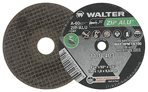 Walter 11U042 ZIP ALU Fast and Free Cutoff Wheel - [Pack of 25] A-60-ZIP-ALU Grit, 4-1/2 in. Abrasive Wheel for Fast Cutting. Metal Cutting Tools and Accessories