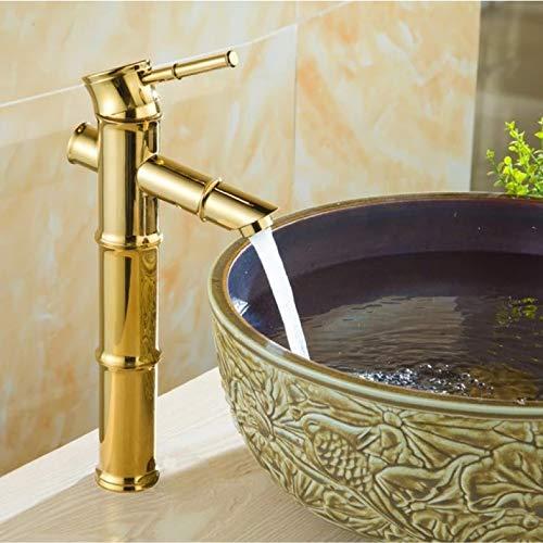 CSCZL Latón de Color Dorado Pulido Montado en la Cubierta de un Solo Orificio Palanca de baño Recipiente de baño Lavabo Grifo Mezclador Grifos de Agua