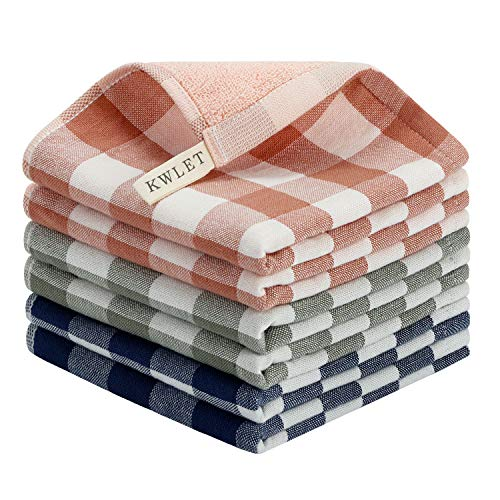 KWLET Dish Cloths for Washing Dishes Dish Towels and Dishcloths Sets for Kitchen Cotton Plaid Dish Rags Absorbent Drying Terry Cloth Kitchen Towels 13 x 13 6 Pack