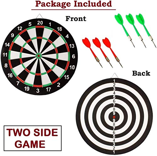 Sky Tech Latest Wooden 17 inch Double Faced Flock Printing Thickening Tournament Bristle Dartboard Game Dart with 6 Needle (17 x 17-inch)