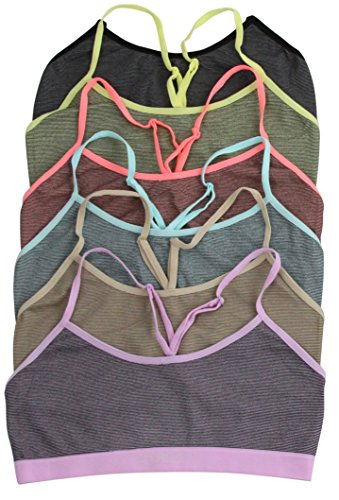 ToBeInStyle Women's Pack of 6 I Heart Milan Striped Bra - One Size
