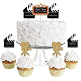 Big Dot of Happiness Red Carpet Hollywood - Dessert Cupcake Toppers - Movie Night Party Clear Treat Picks - Set of 24