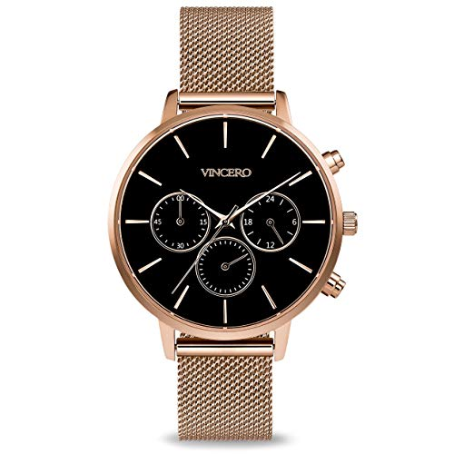 Vincero Luxury Woman's Kleio Wrist Watch with a Mesh Watch Band - 38mm Chronograph Watch - Japanese Quartz Movement (Matte Black + Rose)