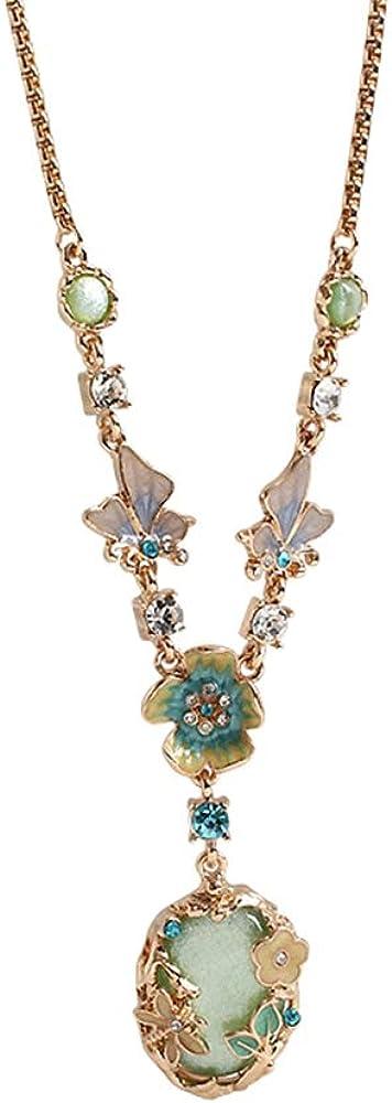 KOCERBACE Retro Style Drops Glaze Chain Necklace Jewelry for Women/Girls, Sweater/T-Shirt Chain