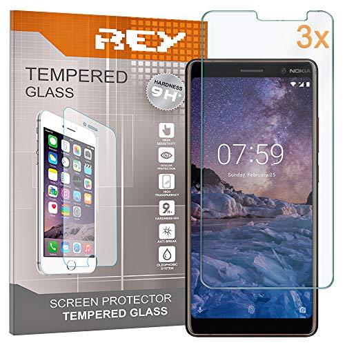 REY 3X Protector de Pantalla para Nokia 7 Plus, Cristal Vidrio Templado Premium