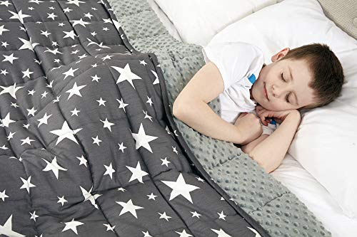 viceroy bedding weighted blanket for children kids autism anxiety - 100% cotton with sensory soft minky dot reverse side - heavy weight blanket for sleep therapy (stars grey, 100cm x 155cm, 4.5kg)