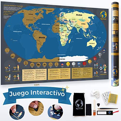 Mapa Mundi Rascar en Español de 84 x 58cm con Juego Interactivo de Puntos y Retos y 7 Niveles...