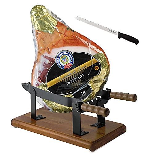 Jamon de Parma dop (Cav. U. Boschi) Entero, deshuesado + prensa en hierro + cuchillo especial para el jamón