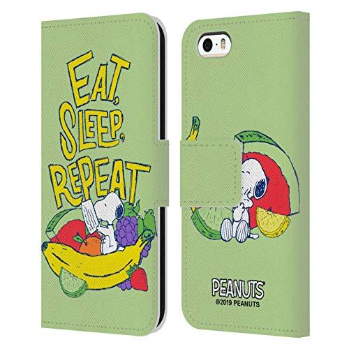 Head Case Designs Licenza Ufficiale Peanuts Mangia Dorme Snoopy Naturalmente Dolce Cover in Pelle a Portafoglio Compatibile con Apple iPhone 5 / iPhone 5s / iPhone SE 2016
