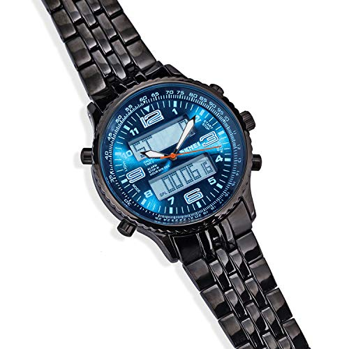 Stauer Men's Blue and Black Stainless Steel Metropolis Chronograph Watch