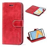 Mulbess Handyhülle für HTC 10 Hülle, Leder Flip Case Schutzhülle für HTC 10 Tasche, Wein Rot