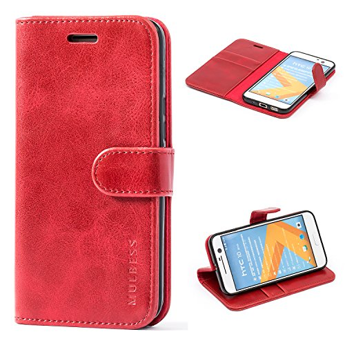 Mulbess Handyhülle für HTC 10 Hülle Leder, HTC 10 Handy Hüllen, Vintage Flip Handytasche Schutzhülle für HTC 10 Case, Wein Rot