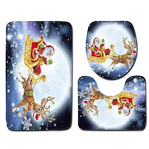 Mitlfuny Halloween Weihnachten,3 StüCk Toiletten-Abdeckung Set Bad WC Set Sitzbezug (Bad Teppich + Pedestal Teppich + Toilettensitzabdeckung)