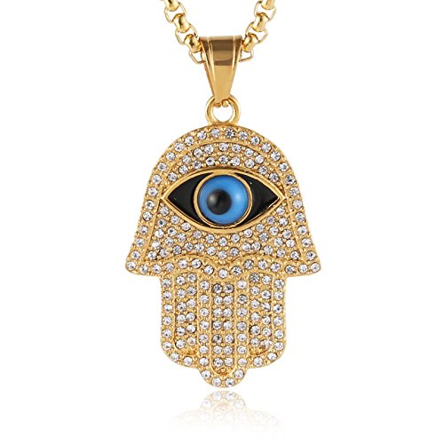 HZMAN 18k Gold Plated Iced Out CZ Stainless Steel Blue Evil Eye Beads Fatima Hamsa Hand Pendant Necklace (Gold)