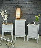 Livitat® Nachttisch Nachtschrank Nachtkonsole Nachtkommode Weiß barock LV4012 (3 Schubladen)
