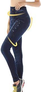 Mujeres Push Up Jeans Pantalones de Yoga con Forma elástica Fitness Leggings Deportivos Cintura Alta Gimnasio Entrenamiento Running Medias Slim