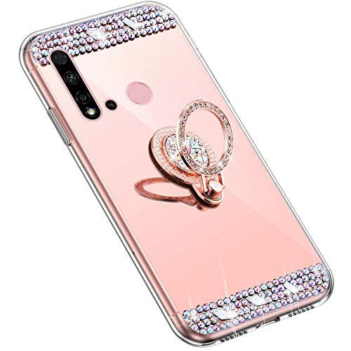 Uposao Kompatibel mit Huawei P20 Lite 2019 Handyhülle Strass Diamant Kristall Bling Glitzer Glänzend Spiegel Schutzhülle Mirror Case Silikon Hülle Tasche mit Ring Halter Ständer,Rose Gold