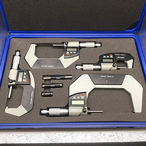 WNTHBJ Micrómetro Digital de diámetro Exterior, de Alta precisión Ultra, Kit micrómetro electrónico, micrómetro diámetro Exterior Digital con Punta de carburo
