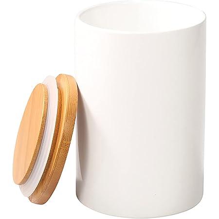 77L Récipient Bocal, Pot de stockage de nourriture boîtes pot récipient en céramique avec couvercle en Bambou et joint en silicone 430 ML (14.52 FL OZ)