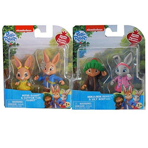 Peter Rabbit Figurines Gâteau Toppers, Lily Bobtail, Benjamin Bunny et queue de coton. Edition collector unique pour les personnages Party 7.5cm