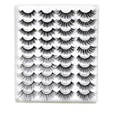 20 Pairs Mixed Styles False Eyelashes 3D Faux Mink Eyelashes Wispies Fluffy Natural Long Lashes Extension Beauty Makeup Tools Handmade Cruelty-free (GT55)