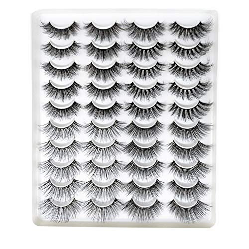 ARRIVEOK SKONHED 20 Pairs 3D False Eyelashes Mixed 4 Styles Faux Mink Lashes Natural Handmade Wispy Criss-cross Fluffy Eyelashes Extension Beauty Makeup (GT55)