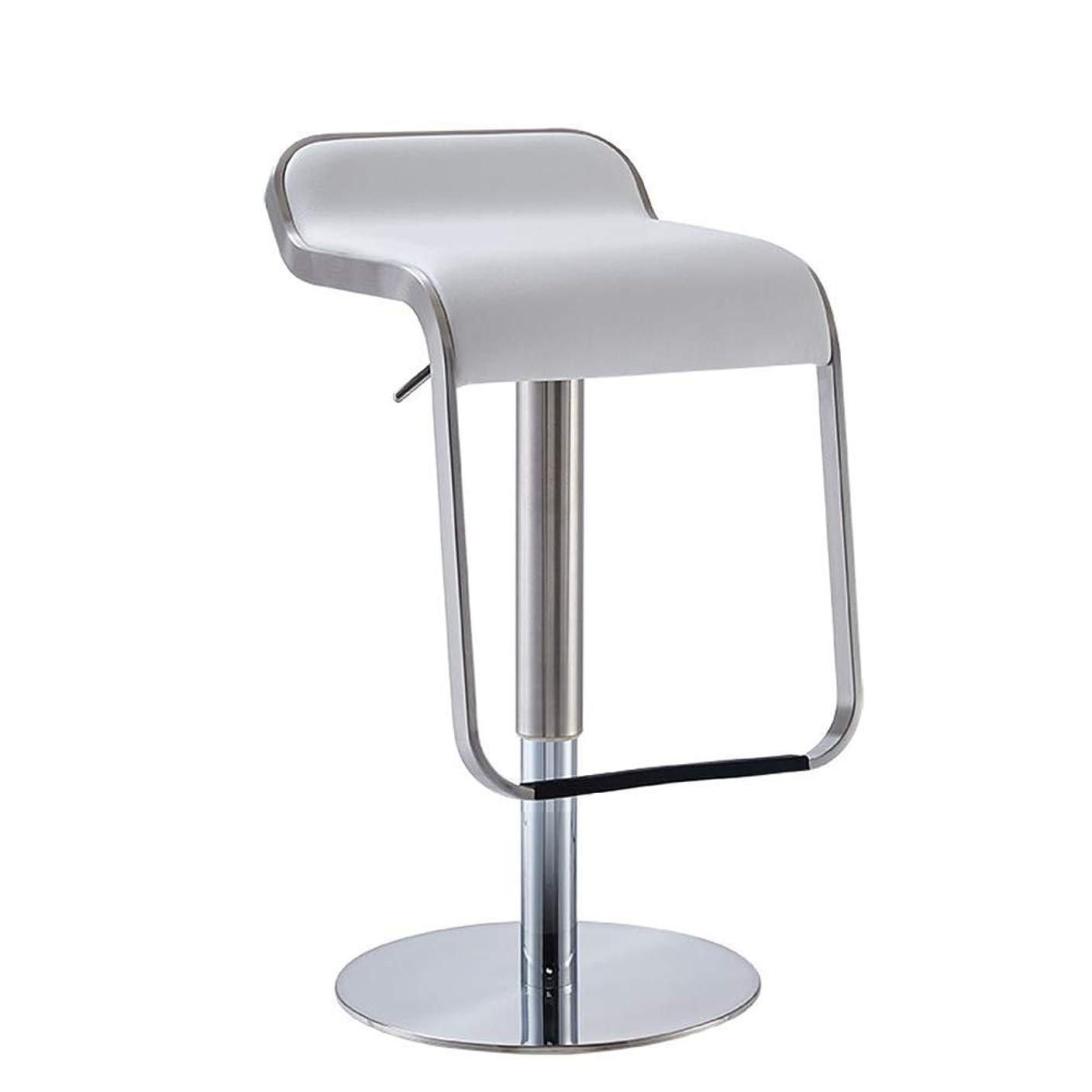 イディオム服を着る湾カウンタースツールモダンデザインバックキッチンバックレスレザーシートステンレススチール回転アセンブリアームレスト調節可能なバーチェア FENPING (Color : White)