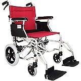 LOLRGV Tragbare selbstfahrende Aluminiumrollstühle Leichter zusammenklappbarer Transport-Reiserollstuhl für ältere Menschen mit Behinderung Rot -