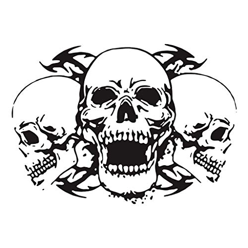 Toygogo Waterproof Fade-resistance Skull Head Car Bonnet Stickers Decal Wall Arts - Black