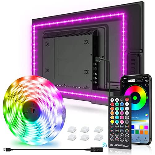 New Fi LEDテープライト 3mx1本 32-75in テレビバックライト APP 40キーリモコン操作 音楽モード 切断可能 取付簡単 イルミネーション クリスマス飾り パーティー 雰囲気作り (USB)