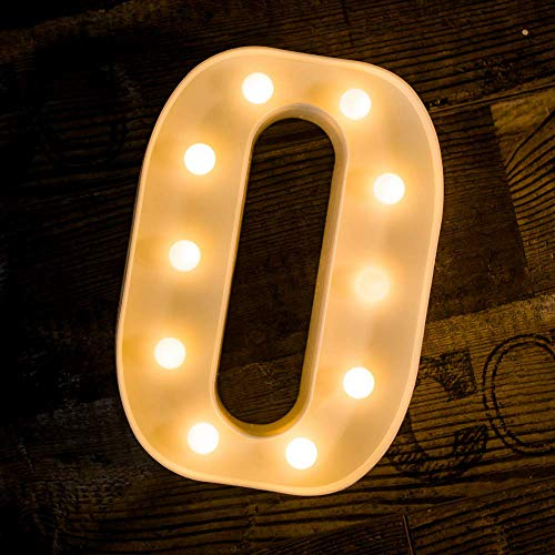 Foaky LED Letter Lights Sign Light Up Letters Sign for Night Light Wedding/Birthday Party Battery Powered Christmas Lamp Home Bar Decoration(O)