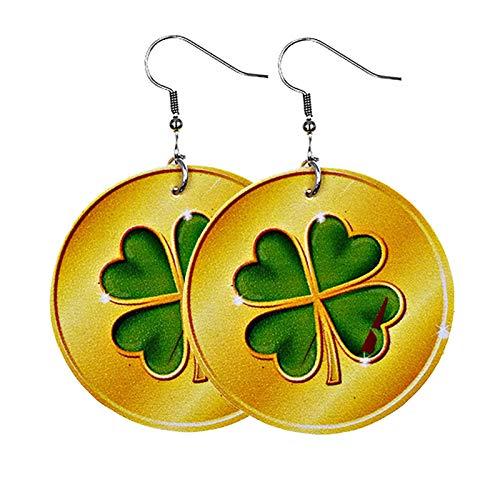 Moent Pendientes para mujer del Día de San Patricio, celebraciones irlandesas, trébol de cuatro hojas, diseño de gnomo de la suerte, regalo para festivales (C)