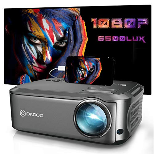 "Projector, OKCOO Native 1080P Projector for Outdoor Movies,6500L HD Portable Projector with Max 200"" Display for Movie Night,Home Theater,Compatible with Smartphone,TV Stick,PS4,HDMI, VGA,AV and USB"