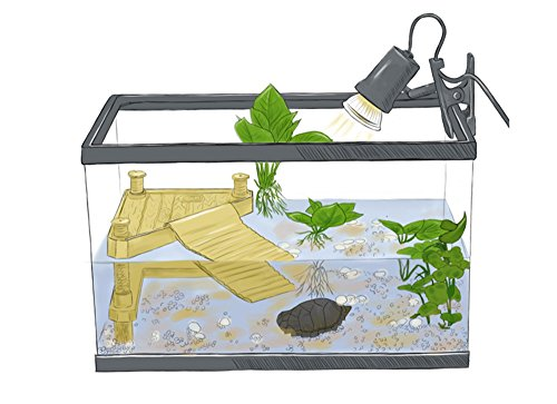 DREAMER.U Aquarium Fish Tank Underwater Landscaping Resin Tortoise Turtle Reptiles Terrace Bridge Decorations Ornaments Accessories Floating Turtle Island Basking Platform (Large)