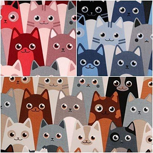 DIE NÄHZWERGE Baumwollstoff Motivkollektion Tiere [Katze Allover, KATZENDRUCK] - Meterware ab 50cm in 2 Farben   100% Baumwolle, Cotton – zum Nähen, Quilten & Patchworken (blau-grau)