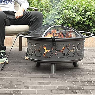 """PHI VILLA 29"""" Fire Pit Large Steel Patio Fireplace Cutouts Pattern, Poker & Spark Screen Included"""