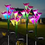 vitutech Solarleuchte Garten, 4 Stück Solarlampen für Außen Garten, Solar Gartenleuchte Lampen Lilie Blumen Solarlicht mit Farbwechsel LED Lampen, Außen Dekoration Lichter für Garten Weg Backyard