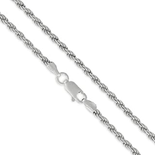 925 Solid Sterling Silver Rope Diamond-Cut Braided Twist Link .925 Rhodium Chain Necklaces 1.5MM - 5.5MM, 16