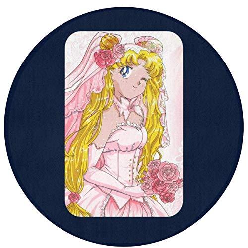 Liz Carter 60cm Sailor Moon Usagi Sposa Teppich Runde Vordertürmatte, rutschfest, waschbar, absorbiert schnell Feuchtigkeit und widersteht schmutzigen Teppichen